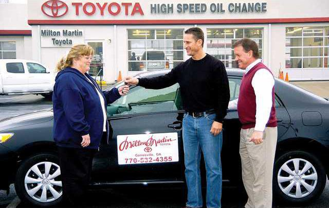 Ken Grindle Of Net India Ministries, Along With Ricky Martin Of Milton  Martin Toyota, Right, Hands Over The Keys To Terri Adamsu0027 New Toyota  Corolla On ...