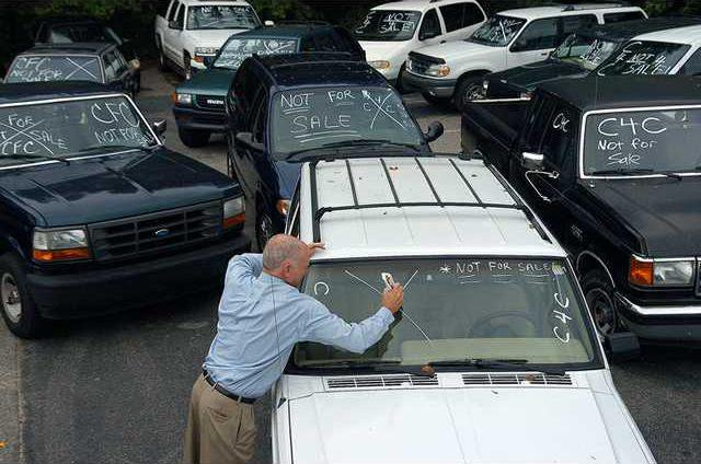 Milton Martin Honda General Manager Butch Miller Marks Windshields Friday  Of Cars Traded In To The Dealership As Part Of The Governmentu0027s CARS, ...