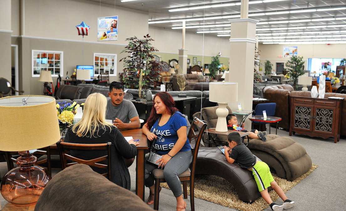Beau ... Sales Consultant Gail Broker On Tuesday, May 29, 2018, As Youngsters  Salvador, Right, And Angel Chavez Wait Inside The Longtime Gainesville  Furniture ...